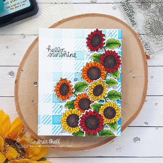 Sunflower Card by Andrea Shell | Sunflower Days Stamp Set and Gingham Stencil by Newton's Nook Designs #newtonsnook #handmade