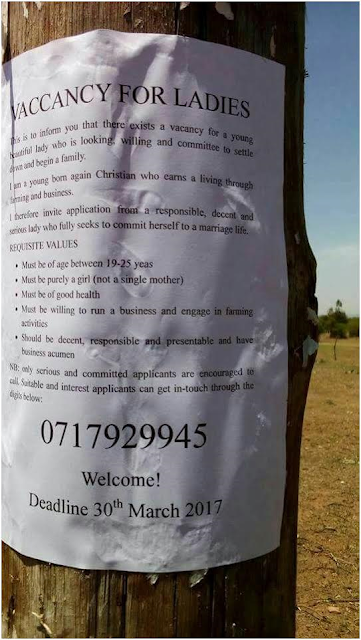 "Desperate Kenyan man hangs ""Vacancy for Ladies"" notice, in attempt to find a wife"