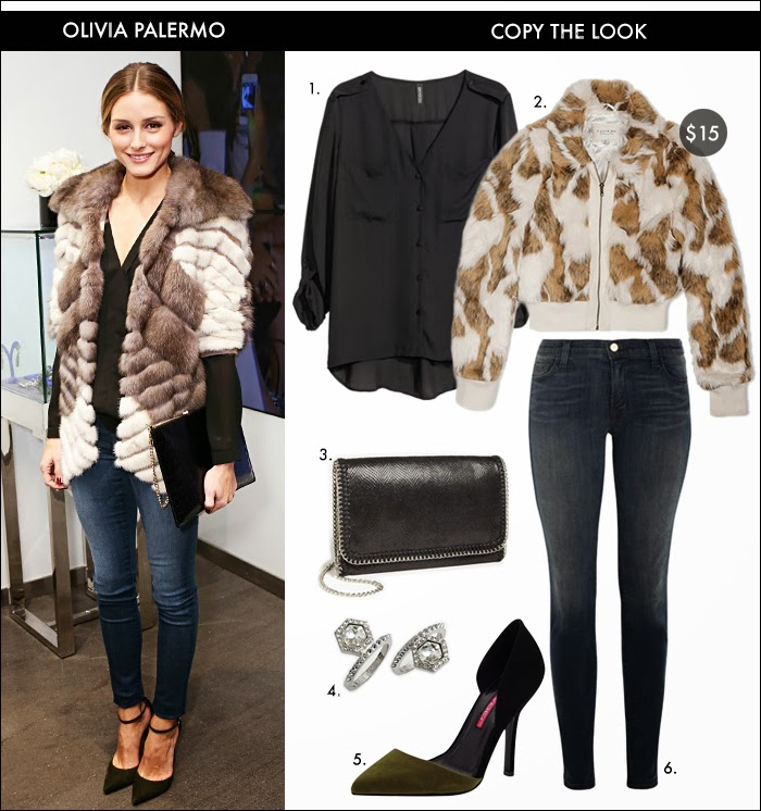 styles for less, celebrity style for less, faux fur jacket, skinny jeans, olivia palermo style, olivia palermo