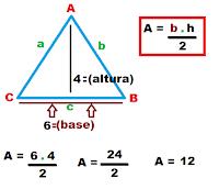 Aplicando Fórmula para calcular a área da superfície do triângulo