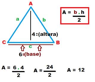 Aplicando Fórmula para calcular a área do triângulo