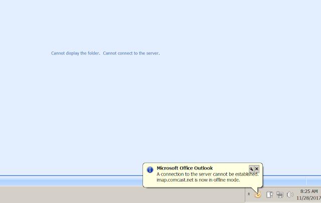 xfinity imap mail server fail
