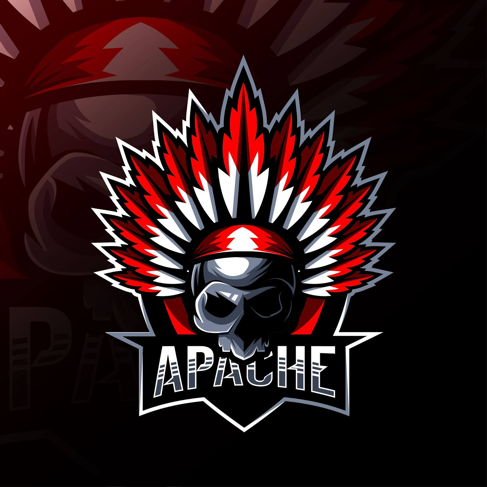 Apache Mascot Logo Esport Design Free Download Vector CDR, AI, EPS and PNG Formats