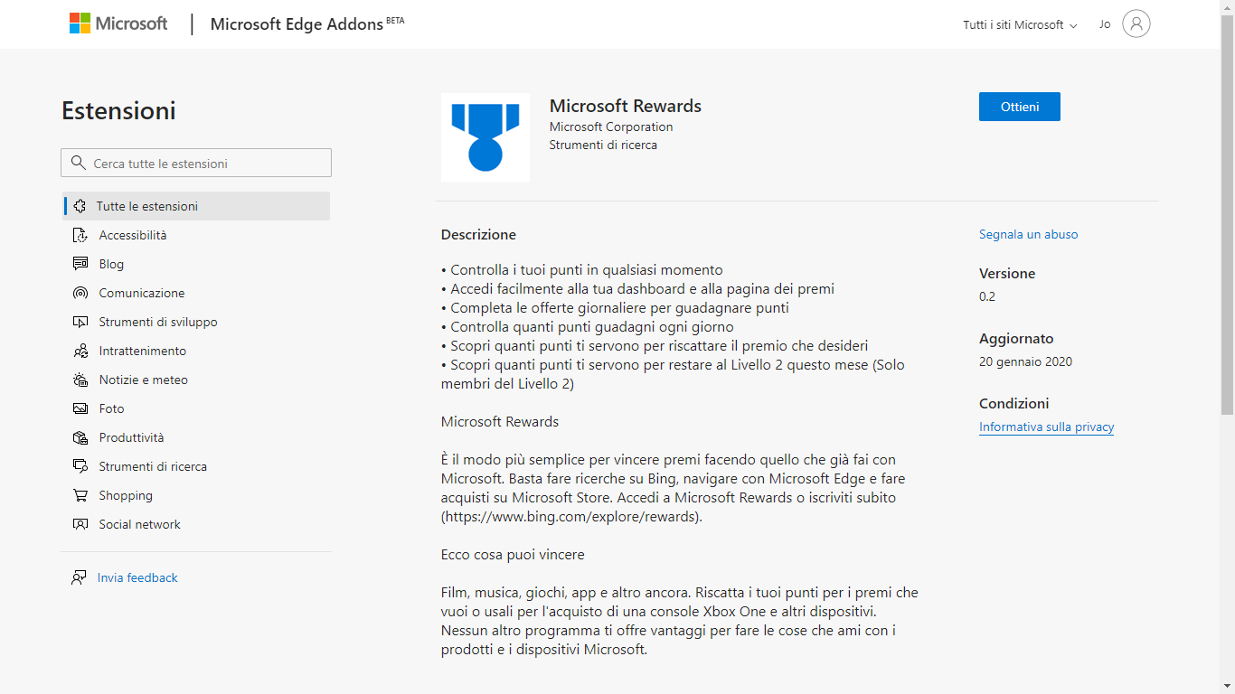Download Microsoft Rewards, estensione per Edge Chromium