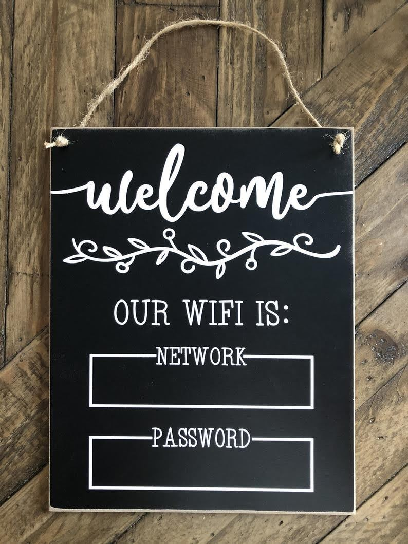 Welcome Wifi Password Chalkboard Sign | Etsy