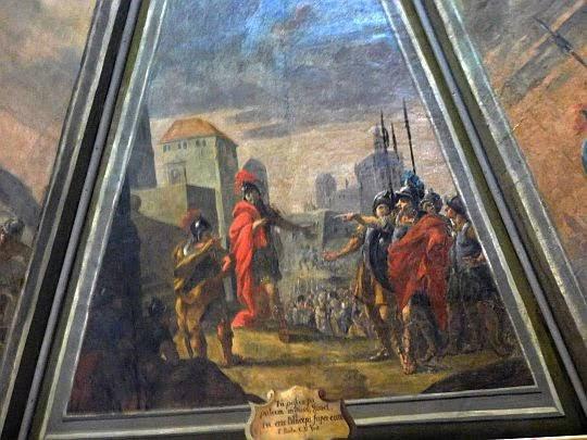 Freski przedstawiające żołnierzy króla Dawida.