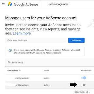 Mengatur akses user admin google adsense