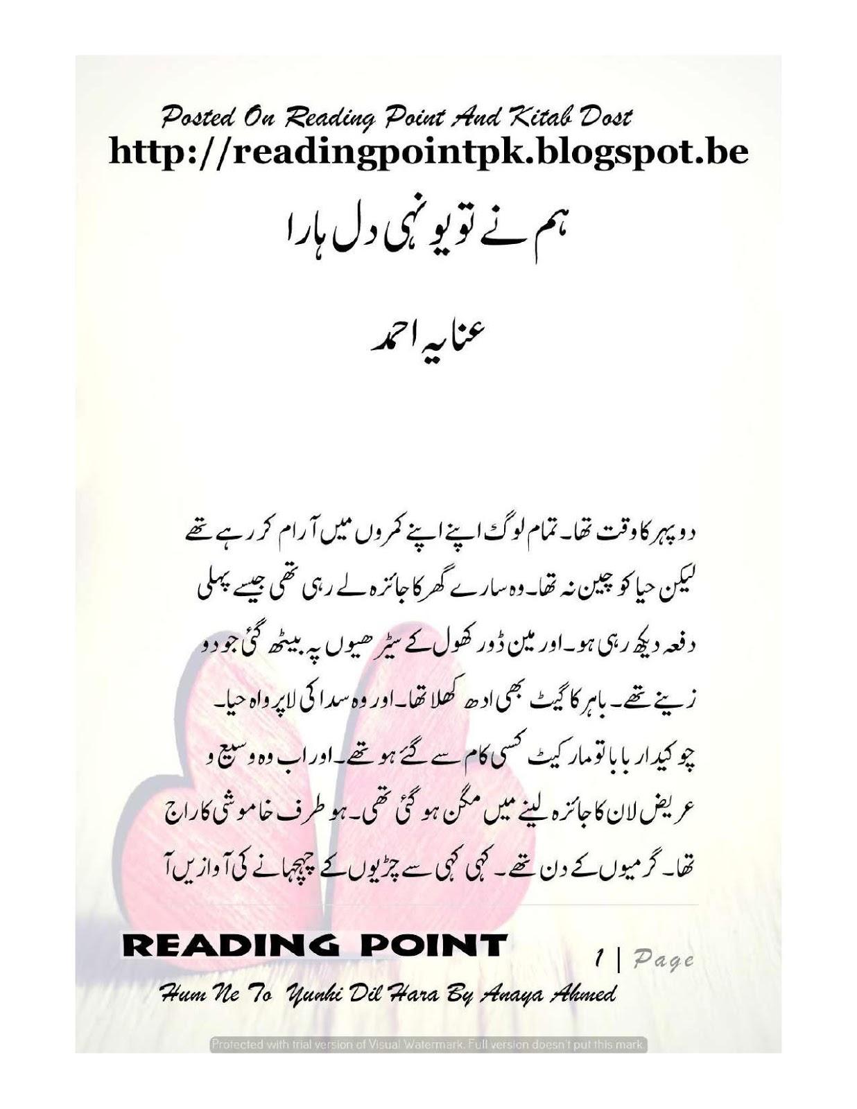 Hum Ne To Yunhi Dil Hara Novel By Anaya Ahmed Rude Hero Based