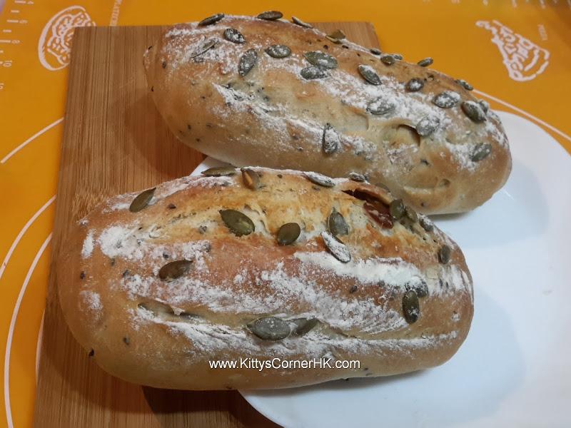 Dark Rye French Bread with Longan and Pumpkin Seeds Bread DIY recipe 桂圓南瓜子法包 自家烘焙食譜