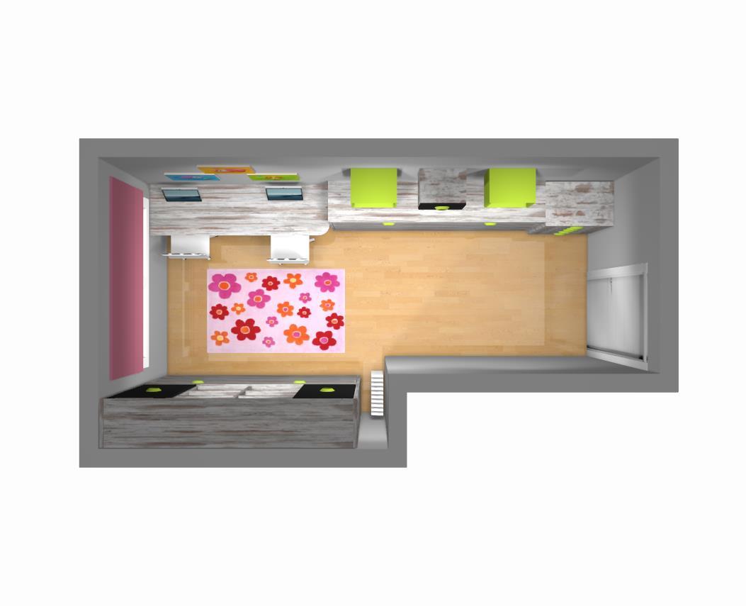 Dise o de una habitaci n juvenil con dos camas abatibles for Habitacion juvenil 2 camas