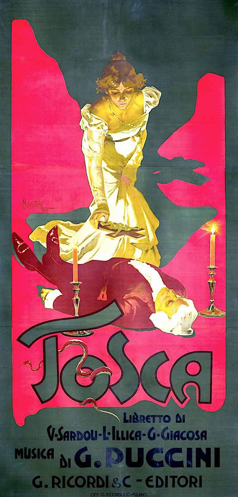 a Marcello Dudovich 1899 poster for Puccini's opera Tosca