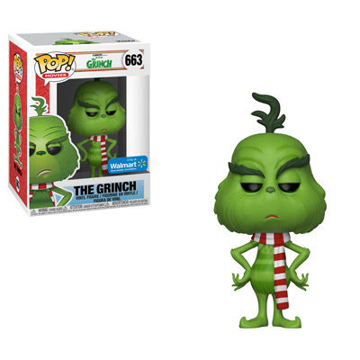 Grinch wearing a festive scarf is available as a Walmart exclusive pop
