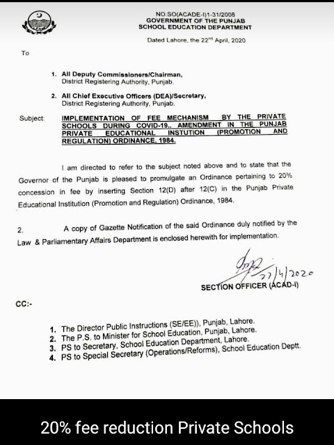 20 fee concession notification by private school notification