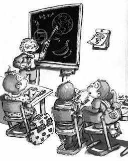 Kinderbuchillustration, Äffchen Bob, Affenschule