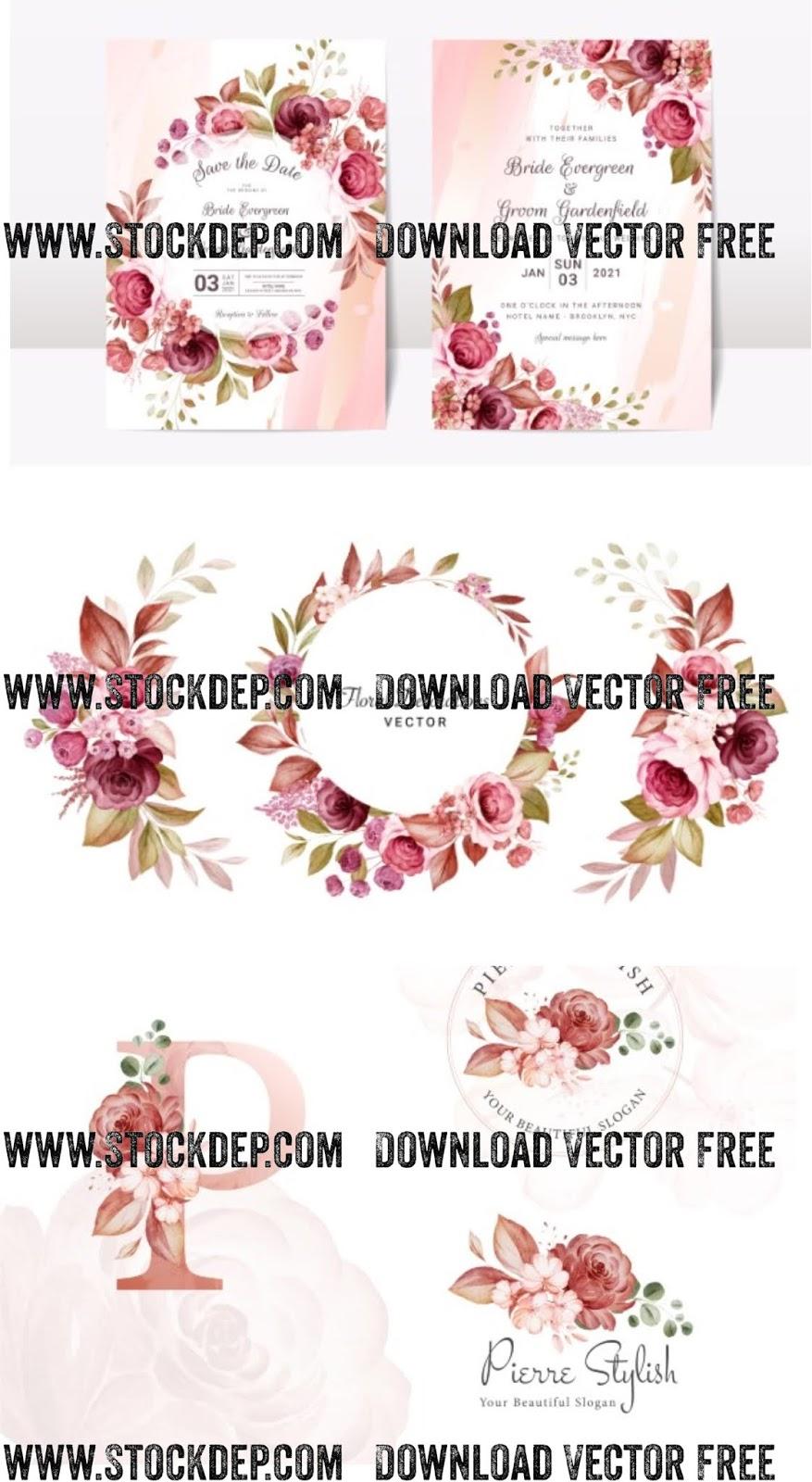 Download vector thiệp cưới đẹp miễn phí hoa lá cành