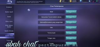 Cara ubah chat pertempuran ml