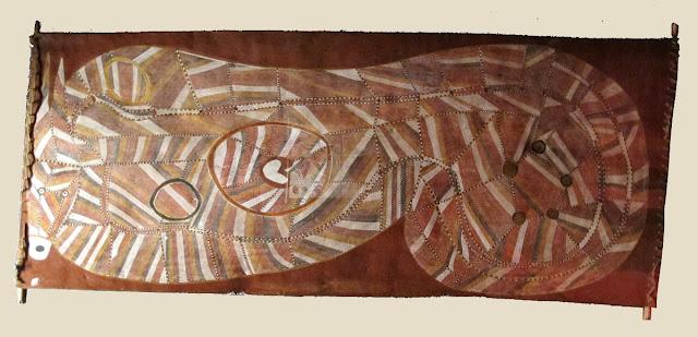 Bark painting of rainbow serpent by aboriginal artist John Mawurndjul.