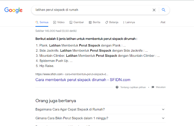 Contoh tampilan listicle featured snippets tipe ordered list google by leafcoder.org