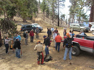 San Gabriel Mountains Trailbuilders preparing to begin work day