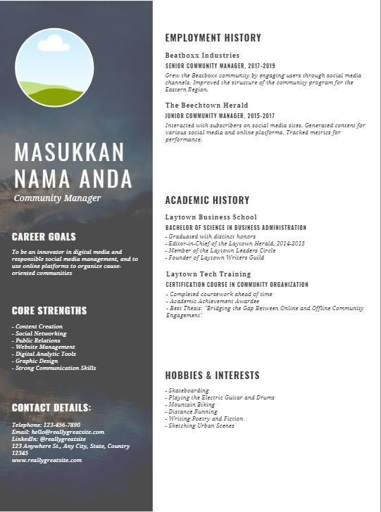Contoh CV yang bagus dan menarik