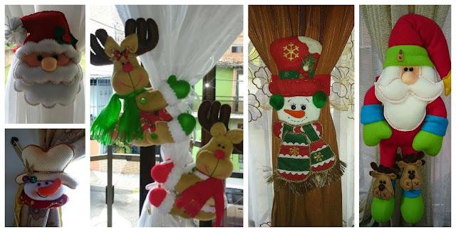 sujeta cortinas navideño