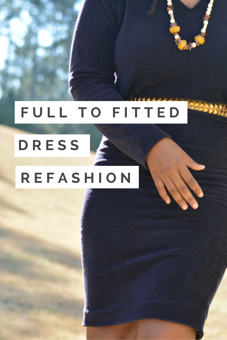 full to fitted thrift store dress refashion