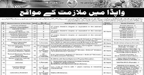 Latest Water & Power Development Authority WAPDA Jobs via PTS