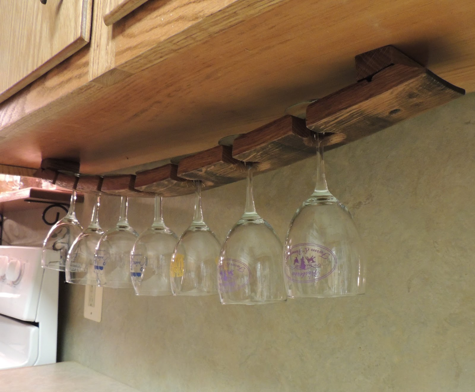 Cork to barrel under cabinet hanging glass rack Hanging wooden wine rack