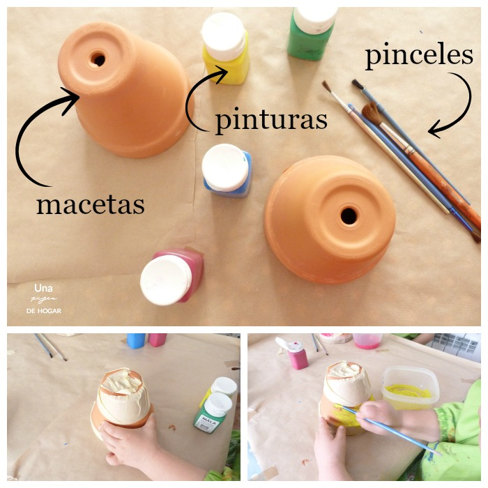 materiales-decorar macetas de barro con niños