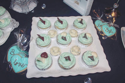 Parisian Breakfast at Tiffany's Bridal Shower Decoration - dessert table cupcakes