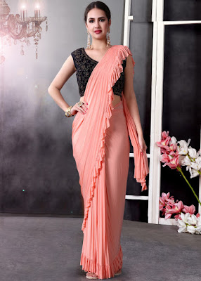 Peach Lycra Pre-Stitched Ruffled Saree With Blouse indian party saree