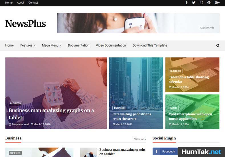 NewsPlus v2  Premium Mobile SEO Friendly Blogger Template free HumTak.net