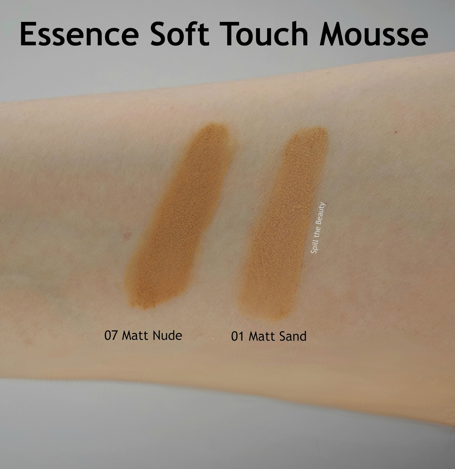 Essence Soft Touch Mousse 01 Matt Sand 07 Matt Nude Review Swatche, Before and After