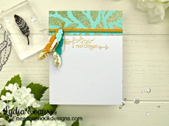 Gold Dipped feather card by Lydia Evans| Points & Plumes dies & Adventure Awaits stamp set by Newton's Nook Designs #newtonsnook