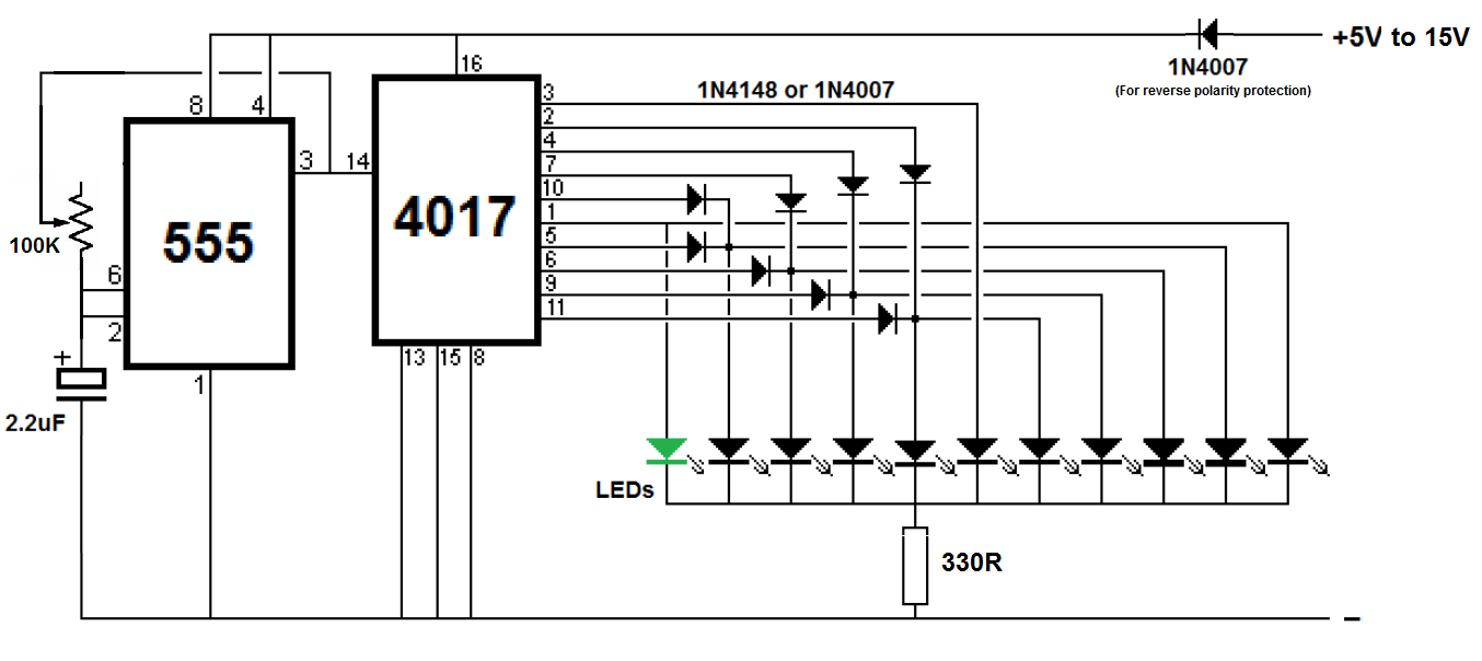 led chaser  sequencer using ic 4017  u0026 ic 555