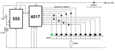 LED Chaser/Sequencer using IC 4017 & IC 555