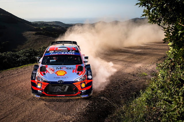 Hyundai world rally car in Sardinia