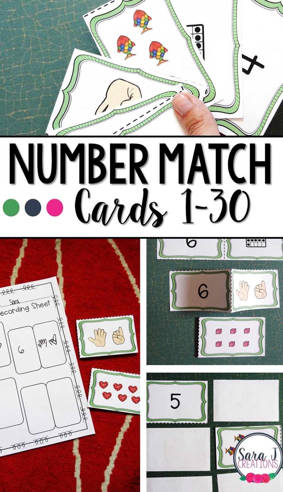 Number match cards make fun learning games for students who need to practice numbers 1-30.