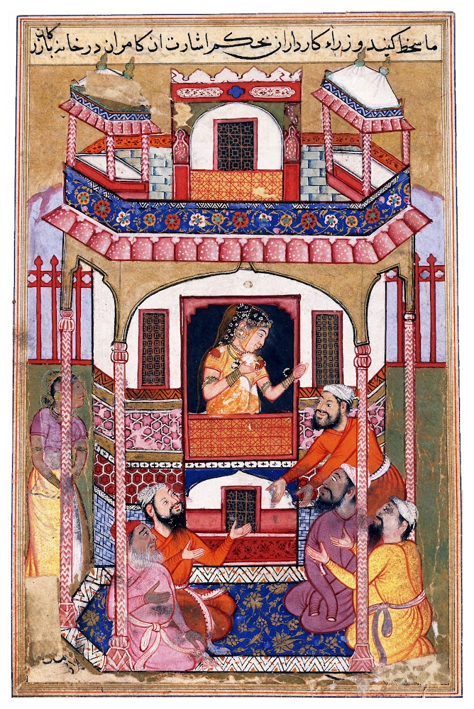 A Young Woman Visited by the Sultan's Viziers, Miniature from a copy of the Tutinama - Mughal Painting c1570