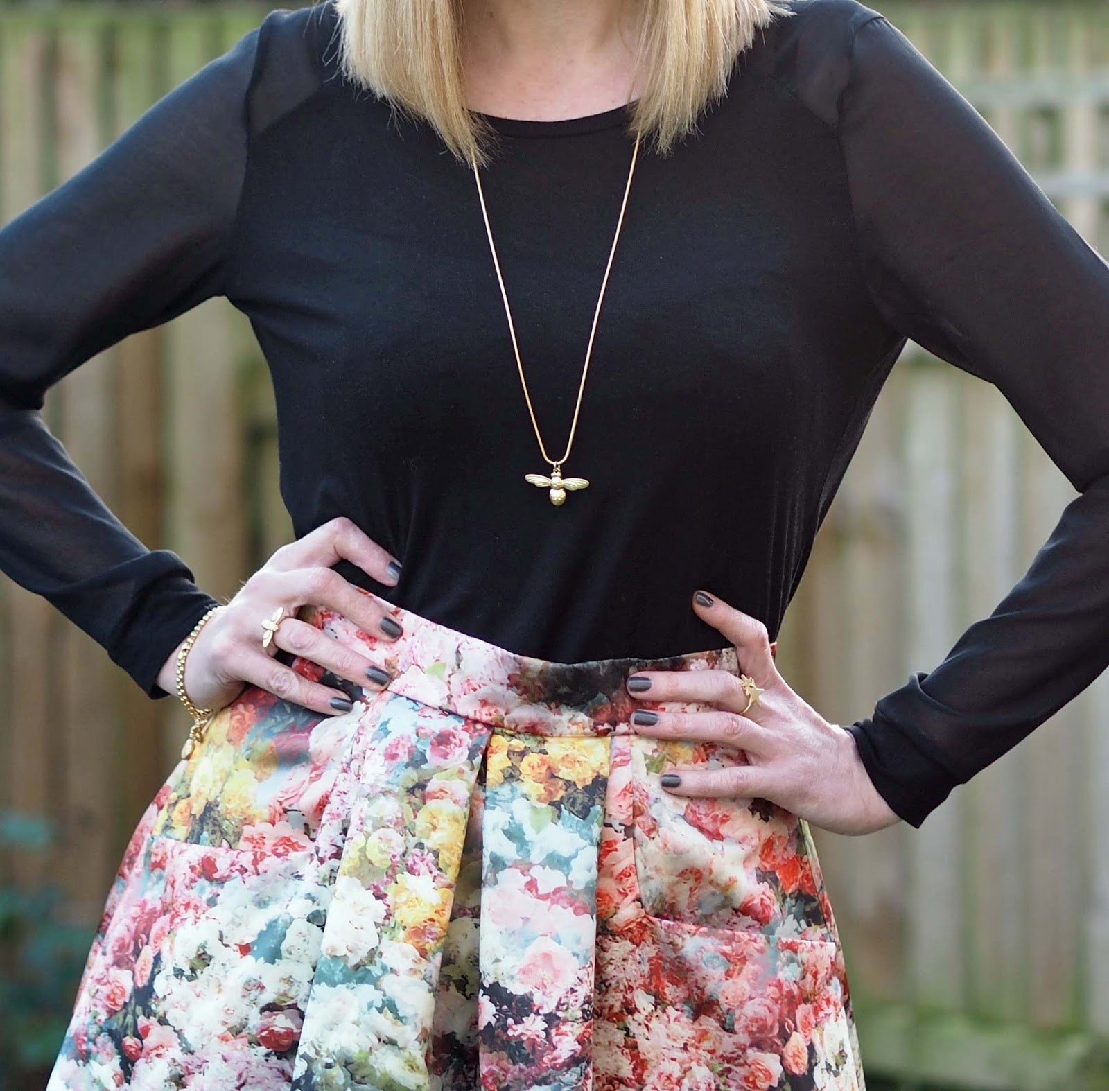 satin floral midi skirt with leopard print boots, over 40 style, Danon gold honey bee necklace