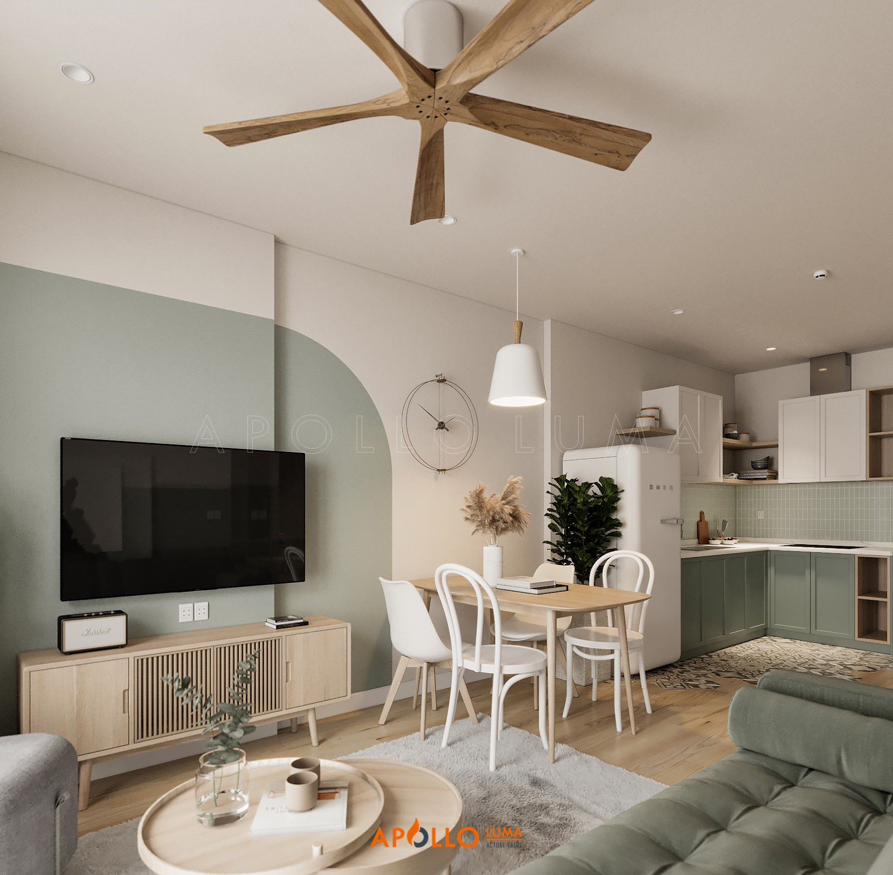 Thiết kế nội thất căn 1PN+1 (43m2) S2.05-05 Vinhomes Ocean Park phong cách Scandinavian