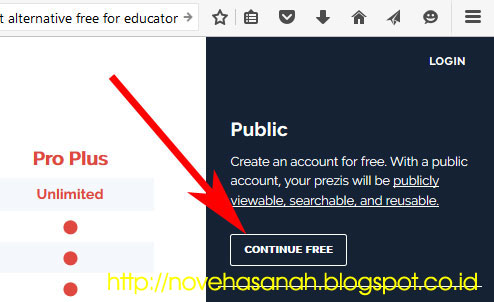 langkah berikutnya Tutorial Prezi (Cara Membuat Presentasi dengan Prezi): SERI 1 - Sign Up (Mendaftar) adalah dengan mengklik tombol abu-abu continue free