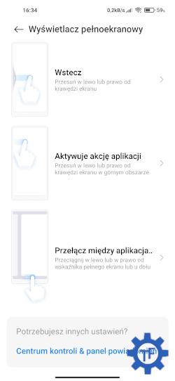 Lista gestów pełnoekranowych w MIUI 12