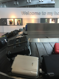 B&W Brompton folding bike box arriving on the luggage carousel