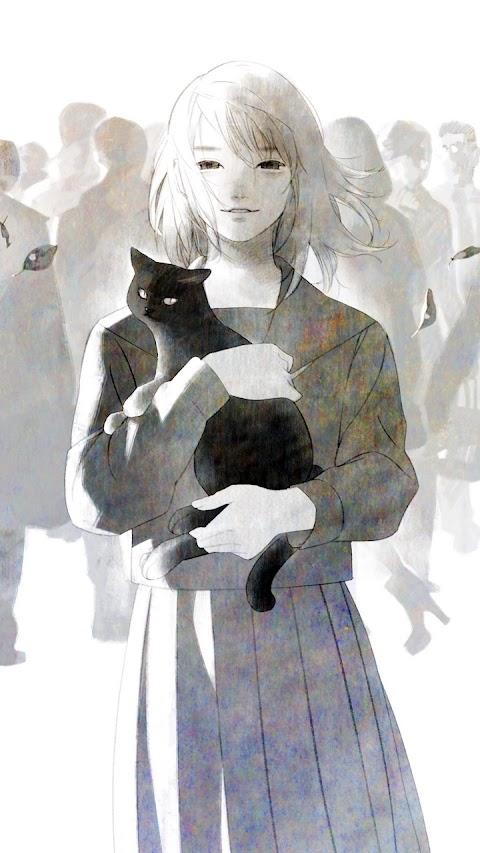 Cô gái và chú mèo đen