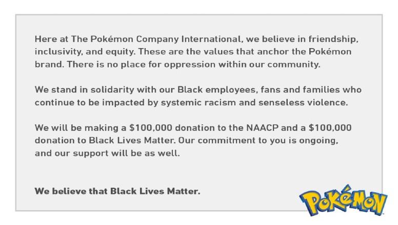 Pokémon Company Black Lives Matter