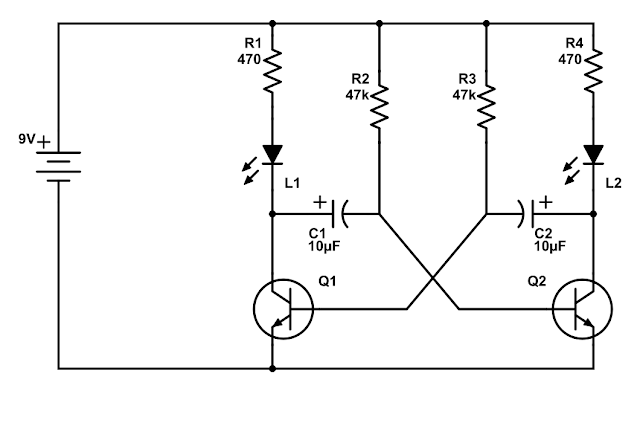 how does an astable multivibrator led blinking circuit work