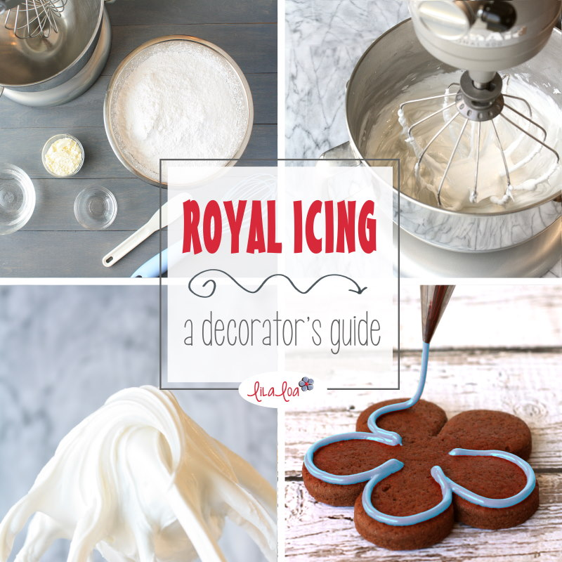 Royal icing ingredients, mixer, whipped royal icing, royal icing on decorated cookies