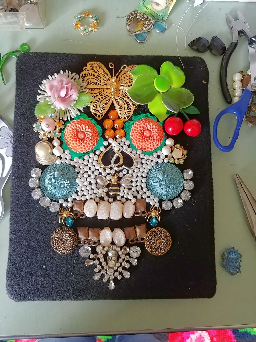 Upcycled Vintage Jewelry Skull Picture