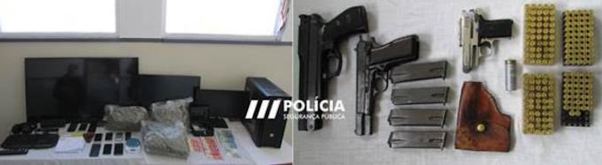 Figueira da Foz: Duas detenções pela prática do crime de tráfico de estupefacientes e posse ilegal de armas